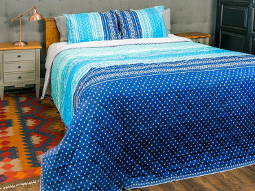 Cuvertura Matlasata, 3 Piese, Summer Blue (Bumbac 100%)