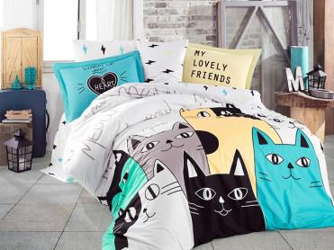 Lenjerie Love Cats Galben (Bumbac Poplin)