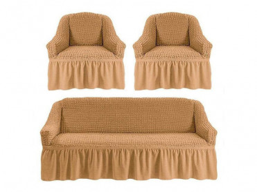 Set 3 Huse pentru canapea si fotolii Irma Cappuccino