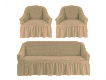 Set 3 Huse pentru canapea si fotolii Irma Crem