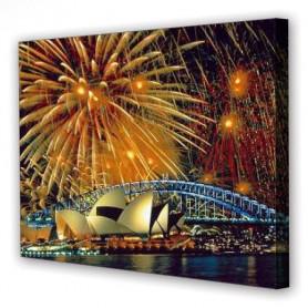 Tablou Canvas Artificii Sydney, Dreptunghiular, Diverse Marimi