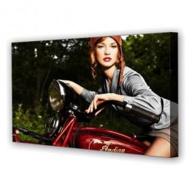 Tablou Canvas Fata pe Motocicleta, Panoramic, Diverse Marimi