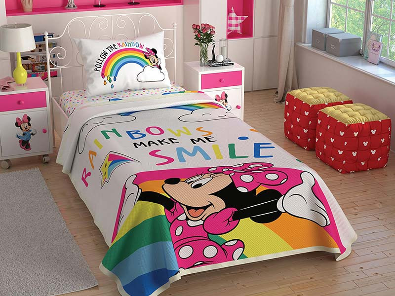 Lenjerie si Cuvertura Copii Minnie Mouse Rainbows (Bumbac 100%)