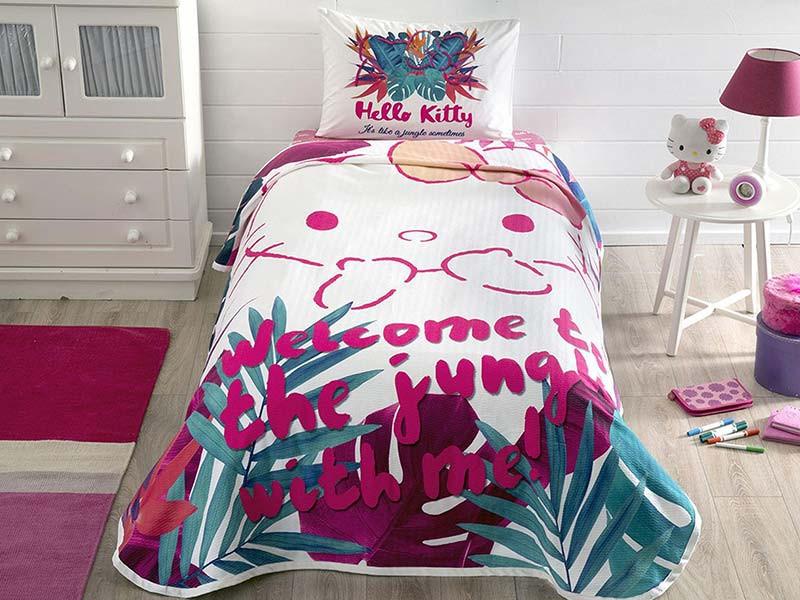 Lenjerie si Cuvertura Copii Hello Kitty Jungle (Bumbac 100%)