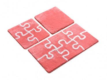 Set 3 Covorase de Baie Puzzle Rose (Acryl)