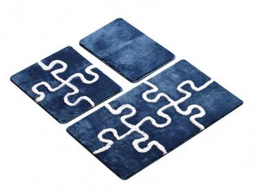 Set 3 Covorase de Baie Puzzle Albastru (Acryl)