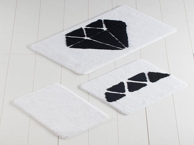 Set 3 Covorase de Baie Diamond Alb (Acryl)