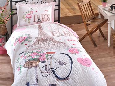 Lenjerie si Cuvertura 1 Persoana, pentru copii, Paris Love (Bumbac 100%)