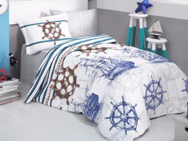 Lenjerie Copii Marine Albastru (Bumbac 100%)