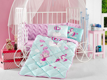 Set Complet Lenjerie Patut Bebe Little Princess (Bumbac 100%)