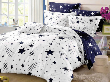 Lenjerie 1 Persoana Star Comet White (Bumbac Satinat)