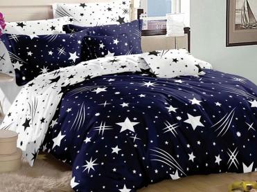 Lenjerie 1 Persoana Star Comet Blue (Bumbac Satinat)