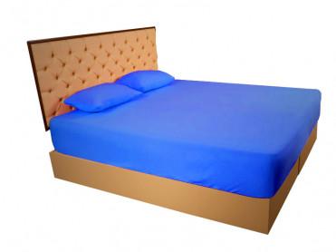 Husa de Pat tip Frotir, Albastru Inchis, 100x200 cm (Bumbac 100%)