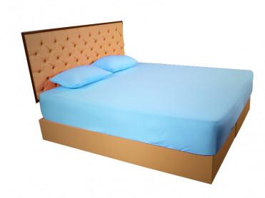 Husa de Pat tip Frotir, Albastru, 100x200 cm (Bumbac 100%)