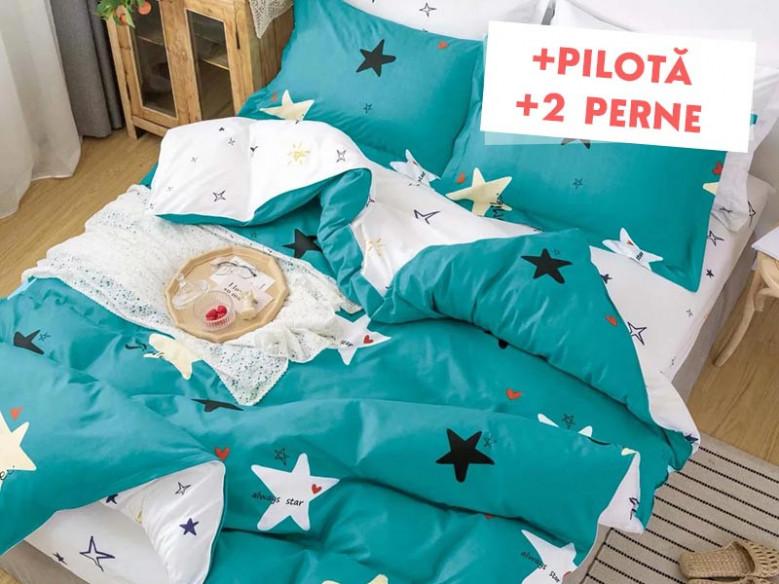 Pachet Lenjerie + Pilota + Perne Always a Star (Bumbac Satinat)