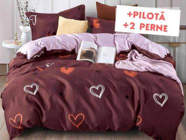 Pachet Lenjerie + Pilota + Perne Neon Heart (Bumbac Satinat)
