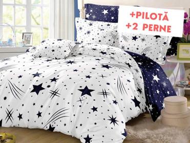 Pachet Lenjerie + Pilota + Perne Star Comet White (Bumbac Satinat)