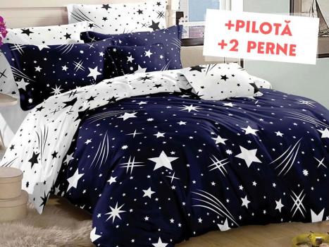 Pachet Lenjerie + Pilota + Perne Star Comet Blue (Bumbac Satinat)