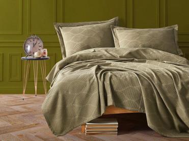 Cuvertura Pique Saten Khaki, 220x240 cm (Satin Deluxe)