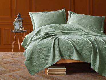 Cuvertura Pique Saten Vera Verde, 220x240 cm (Satin Deluxe)