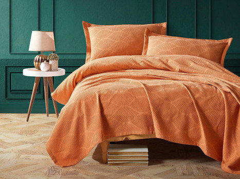 Cuvertura Pique Saten Vera Orange, 220x240 cm (Satin Deluxe)