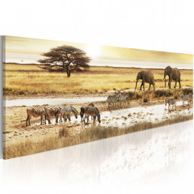 Tablou - Africa: at the waterhole 135x45 cm