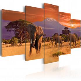 Tablou - Africa: Elephants 200x100 cm