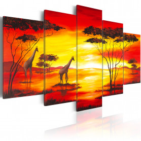 Tablou - Giraffes on the background with sunset 100x50 cm