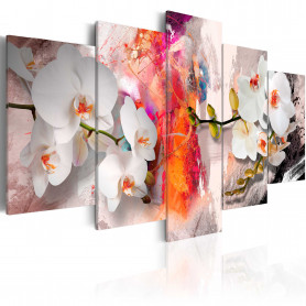 Tablou - Colorful background and orchids 200x100 cm