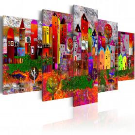 Tablou - Colourful Small Town  200x100 cm