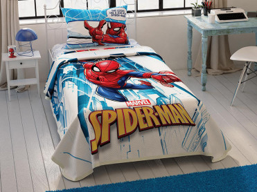 Lenjerie si Cuvertura Copii Spider-Man City (Bumbac 100%)