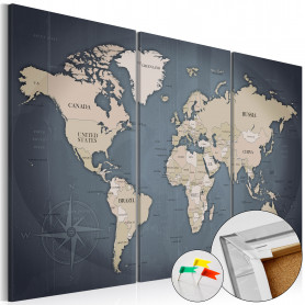 Tablou din plută - Anthracitic World [Cork Map] 120x80 cm