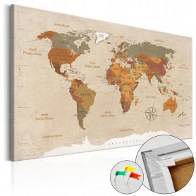 Tablou din plută - Beige Chic [Cork Map] 120x80 cm