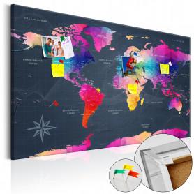 Tablou din plută - Colourful Crystals [Cork Map] 120x80 cm