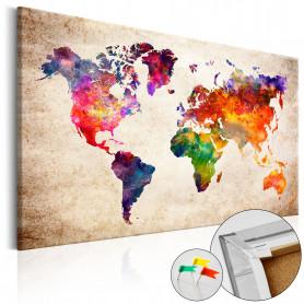 Tablou din plută - Colourful Universe  [Cork Map] 120x80 cm