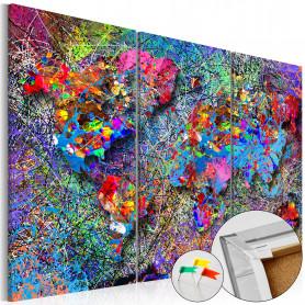 Tablou din plută - Colourful Whirl [Cork Map] 90x60 cm