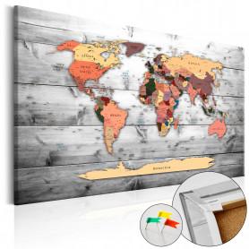 Tablou din plută - Direction World [Cork Map] 60x40 cm