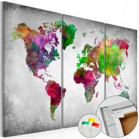 Tablou din plută - Diversity of World [Cork Map] 90x60 cm