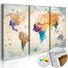 Tablou din plută - Free as a bird [Cork Map] 90x60 cm