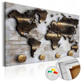 Tablou din plută - Golden Journey [Cork Map] 60x40 cm