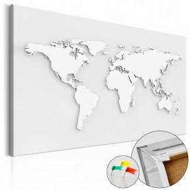 Tablou din plută - Monochromatic World [Cork Map] 90x60 cm