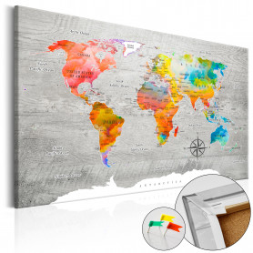 Tablou din plută - Multicolored Travels [Cork Map] 120x80 cm