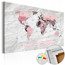 Tablou din plută - Pink Continents [Cork Map] 90x60 cm