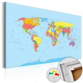 Tablou din plută - Rainbow Geography [Cork Map] 120x80 cm