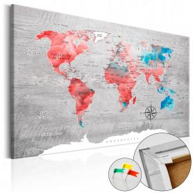 Tablou din plută - Red Roam [Cork Map] 90x60 cm