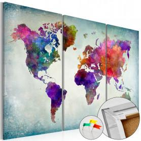 Tablou din plută - World in Colors [Cork Map] 90x60 cm