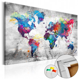 Tablou din plută - World Map: Grey Style [Cork Map] 90x60 cm
