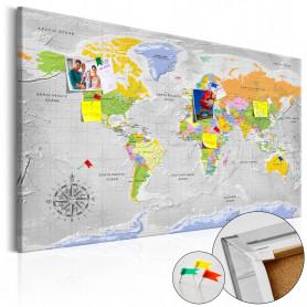Tablou din plută - World Map: Wind Rose [Cork Map] 90x60 cm