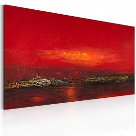 Tablou pictat manual - Red sunset over the sea 120x60 cm