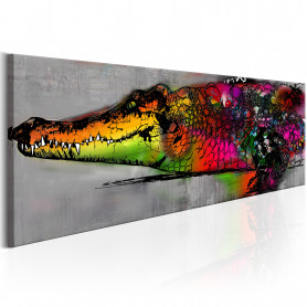 Tablou - Colourful Alligator 120x40 cm